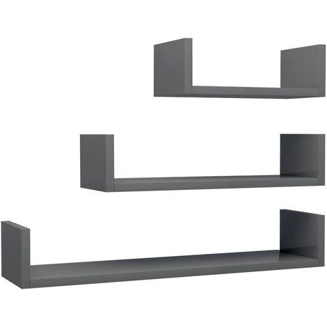 Wall Display Shelf 3 pcs High Gloss Grey Chipboard