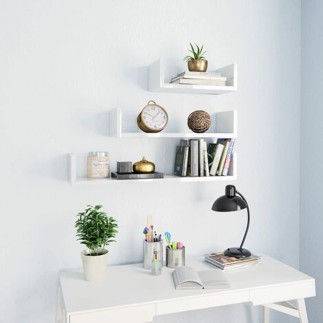 Wall Display Shelf 3 pcs High Gloss White Chipboard