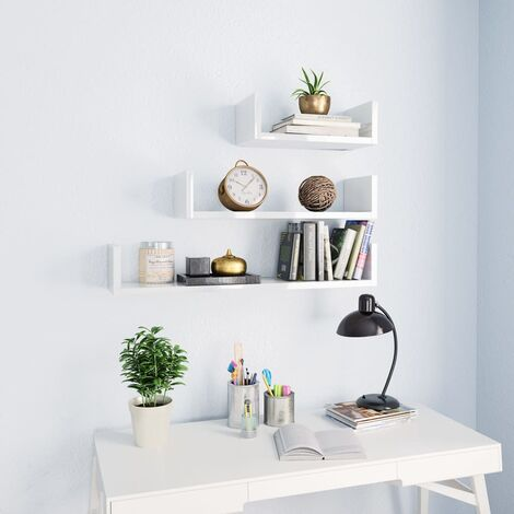 Wall Display Shelf 3 pcs High Gloss White Chipboard
