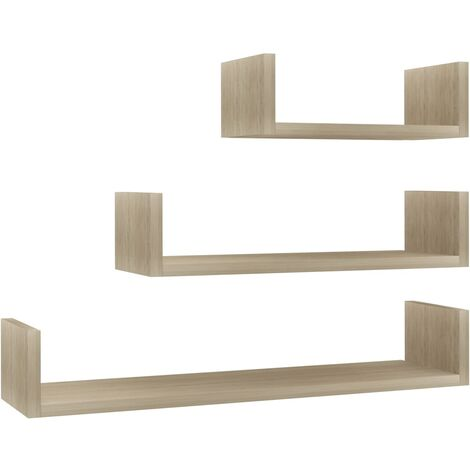 Wall Display Shelf 3 pcs Sonoma Oak Chipboard
