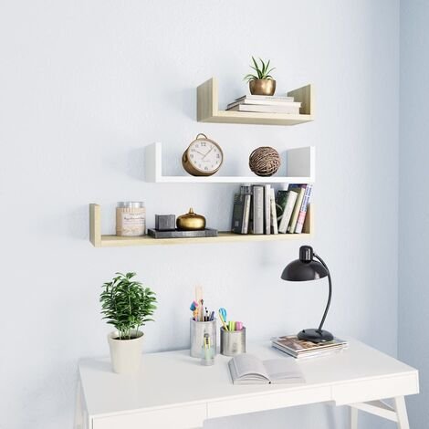 Wall Display Shelf 3 pcs White and Sonoma Oak Chipboard
