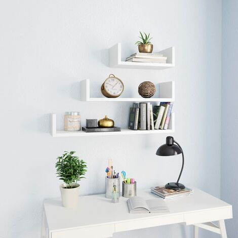 Wall Display Shelf 3 pcs White Chipboard