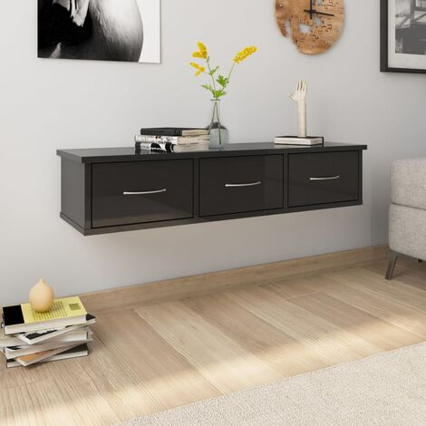 Wall Drawer Shelf High Gloss Black 88x26x18.5 cm Chipboard
