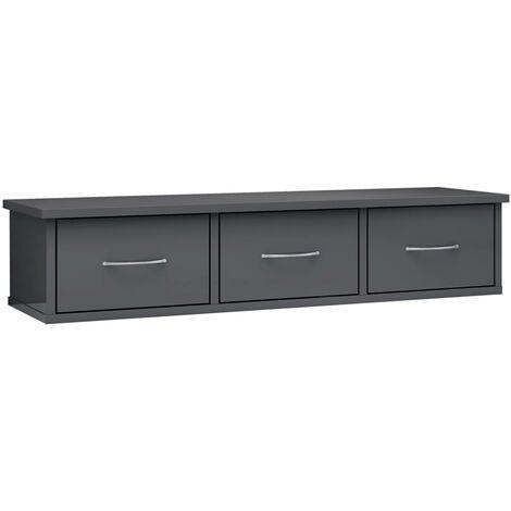 Wall Drawer Shelf High Gloss Grey 88x26x18.5 cm Chipboard
