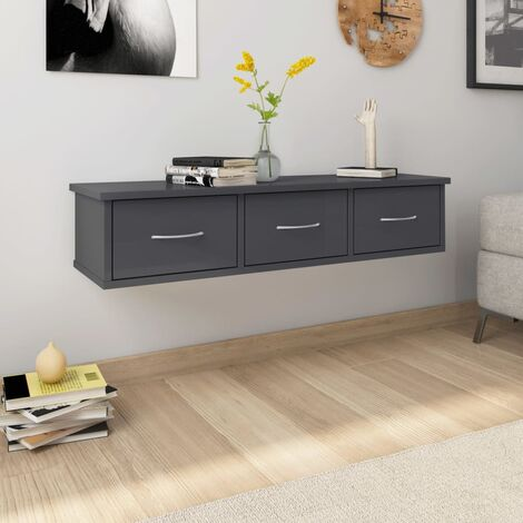 Wall Drawer Shelf High Gloss Grey 90x26x18.5 cm Chipboard