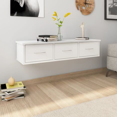 "main image of ""Wall Drawer Shelf High Gloss White 88x26x18.5 cm Chipboard - White"""