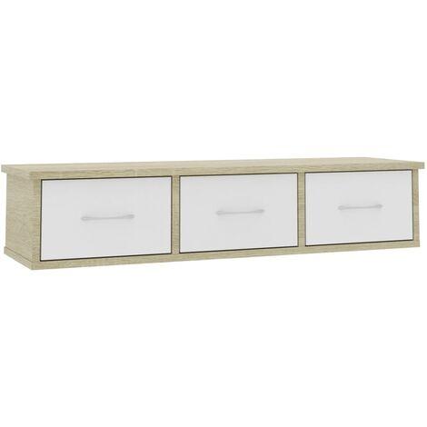 Wall Drawer Shelf White and Sonoma Oak 90x26x18.5 cm Chipboard