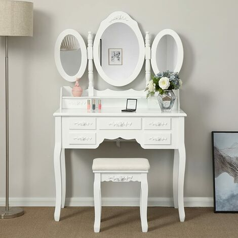 Wall-Fixed Luxurious 3 mirrors Dressing Table Set with stool, 7 drawers with 2 Dividers Make-up Dresser RDT91W