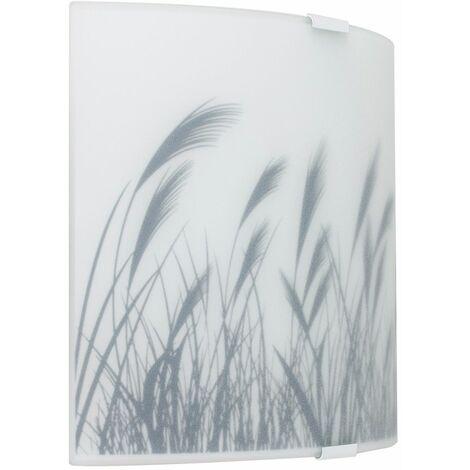 Wall Flush + Light Frosted Glass & Wheat Field Pattern Shade