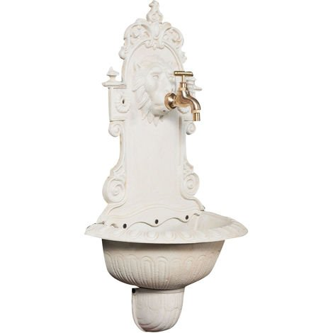 Wall fountain in cast iron with antique white finish