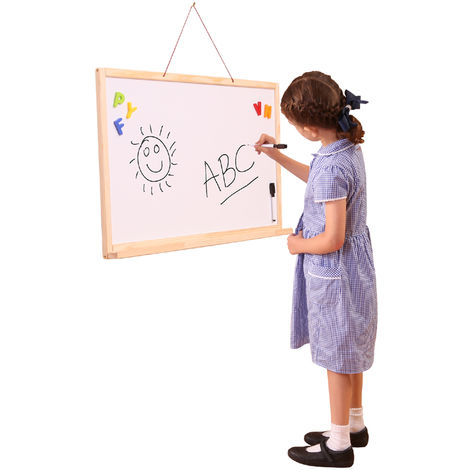 Wall Hanging 2 Sided Whiteboard and Chalkboard Easel
