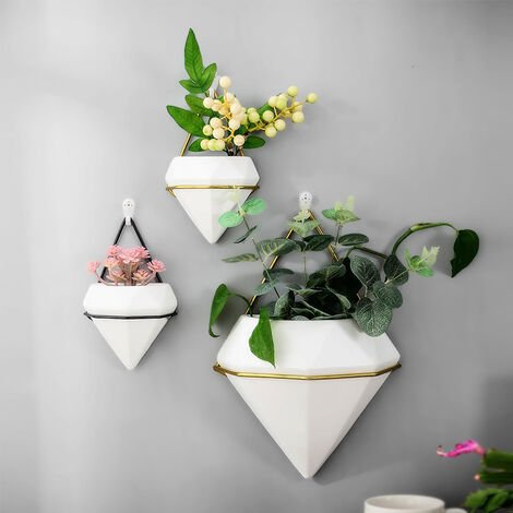 Wall Hanging Geometric Green Plants Planter Box Pot Flower Holder, White Large