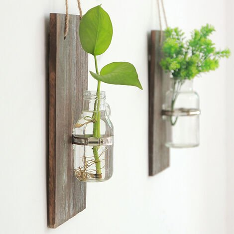 Wall Hanging Glass Vase Outdoor Balcony Plant Pot Home Decor