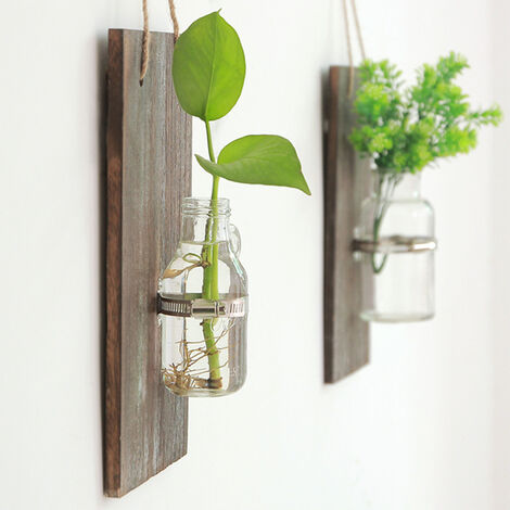 Wall Hanging Plant Rack Flower Pot Glass Planter Vase Basket Terrarium Container