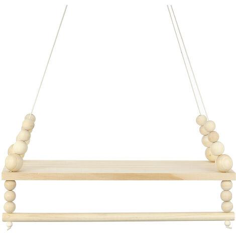 Wall Hanging shelf Wooden Nordic Style Double Wood Suspension Bridge Storage Clothing Mohoo