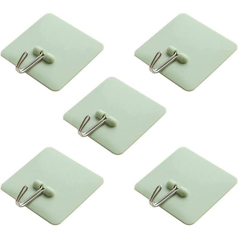 Wall Hooks No Tools or Holes Decorate Damage Free Waterproof Oilproof Adhesive Hooks 5 Pack