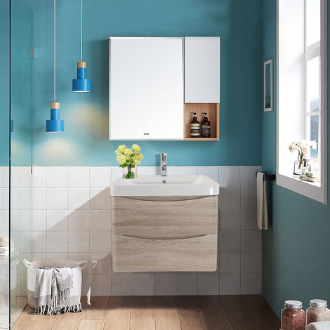 Wall Hung 2 Drawer Vanity Unit Basin Bathroom Furniture 600mm Light Oak