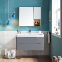 Wall Hung 2 Drawer Vanity Unit Basin Bathroom Furniture 800mm Gloss Grey
