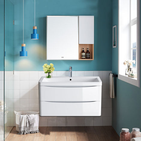 Wall Hung 2 Drawer Vanity Unit Basin Bathroom Furniture 800mm Gloss White