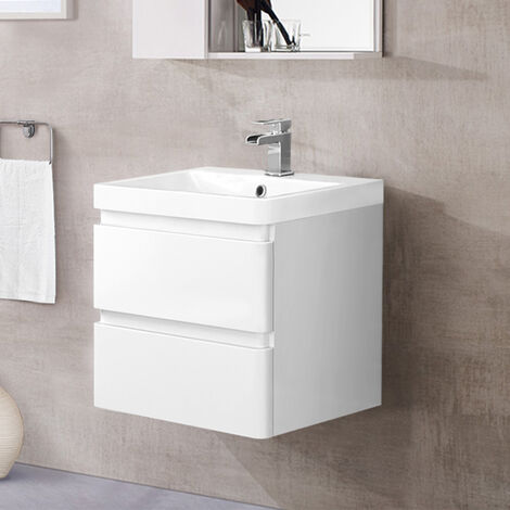 Wall Hung 2 Drawer Vanity Unit Basin Bathroom Storage Furniture 600mm Gloss White