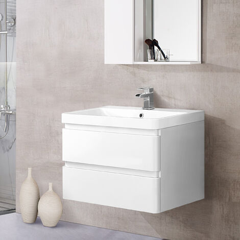 Wall Hung 2 Drawer Vanity Unit Basin Bathroom Storage Furniture 800mm Gloss White