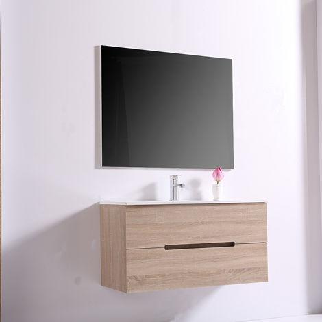 Wall Hung 2 Drawers Vanity Unit Basin Storage Bathroom Furniture 1000mm Light Oak