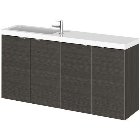 Wall Hung Bathroom Basin Sink Vanity Unit Cabinet Cupboard Storage 1000mm Black