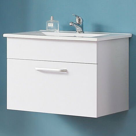 Wall Hung Bathroom Basin Vanity Unit 600mm White-1 Drawer