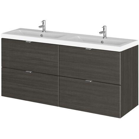 Wall Hung Bathroom Double Basin Sink Vanity Unit Ceramic Drawers 1200mm Black