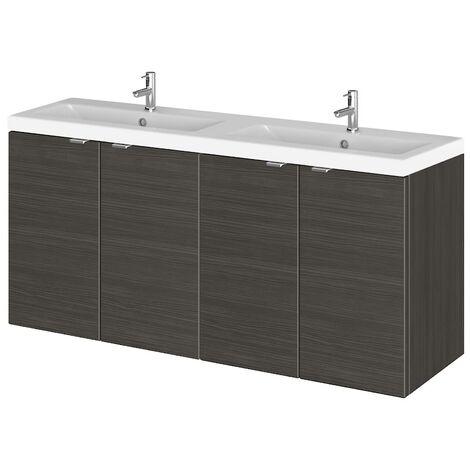 Wall Hung Bathroom Double Basin Sink Vanity Unit Cupboard Ceramic 1200mm Black