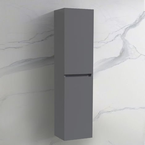 Wall Hung Bathroom High Cabinet Tall Cupboard 1400mm Grey Storage Furniture