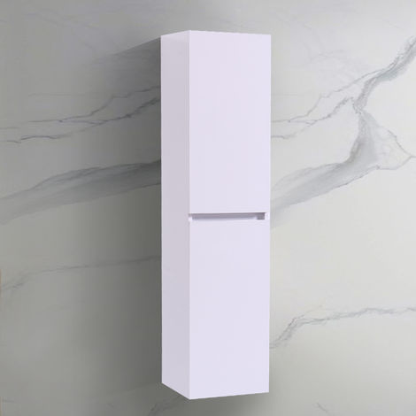 Wall Hung Bathroom High Cabinet Tall Cupboard 1400mm White Storage Furniture