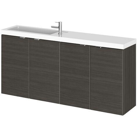 Wall Hung Bathroom Wash Basin Sink Vanity Unit Cabinet 1200mm Black Furniture