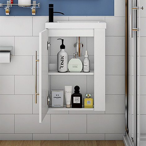 Wall Hung Cloakroom Sink Vanity Unit White Grey Oak Small 440mm Door Furniture