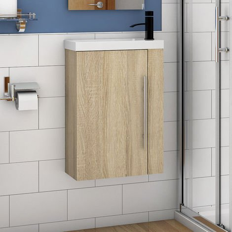 Wall Hung Cloakroom Sink Vanity Unit White Grey Oak Small 440mm Door Furniture