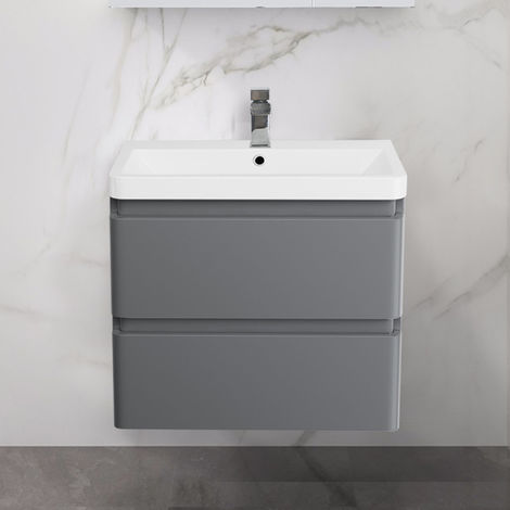 Wall Hung Drawer Vanity Unit Basin Bathroom Storage Furniture 600mm Gloss Grey
