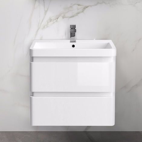 Wall Hung Drawer Vanity Unit Basin Bathroom Storage Furniture 600mm Gloss White
