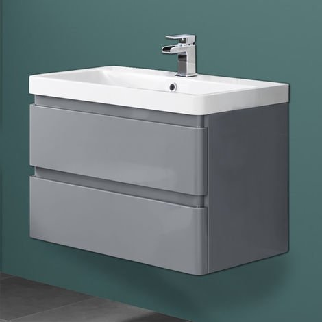 Wall Hung Drawer Vanity Unit Basin Bathroom Storage Furniture 800mm Gloss Grey
