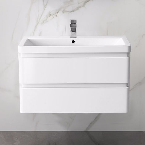 Wall Hung Drawer Vanity Unit Basin Bathroom Storage Furniture 800mm Gloss White