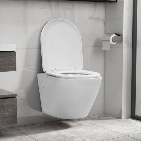 Wall Hung Rimless Toilet Ceramic White