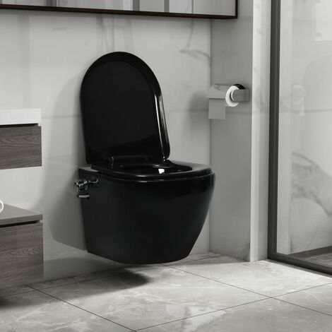 Wall Hung Rimless Toilet with Bidet Function Ceramic Black