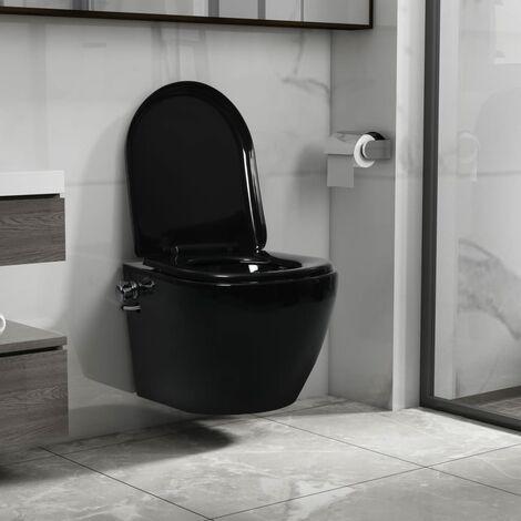 Wall Hung Rimless Toilet with Bidet Function Ceramic Black - Black