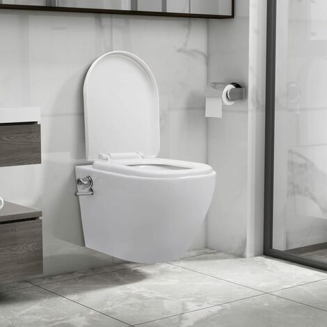 Wall Hung Rimless Toilet with Bidet Function Ceramic White