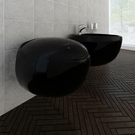 Wall Hung Toilet & Bidet Set Black Ceramic