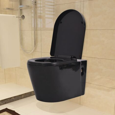 Wall Hung Toilet Ceramic Black