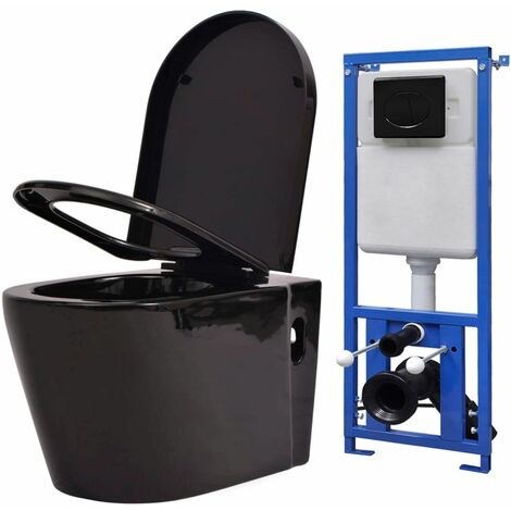 Wall Hung Toilet with Concealed Cistern Ceramic Black - Black