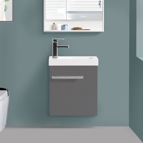 Wall Hung Vanity Sink Unit Bathroom Basin Cabinet Furniture Gloss Grey 440mm