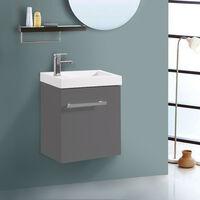 Wall Hung Vanity Sink Unit Bathroom Basin Cabinet Furniture Gloss Grey 440mm