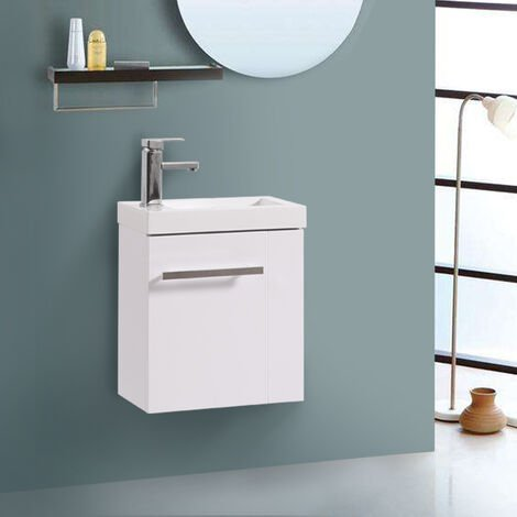 Wall Hung Vanity Sink Unit Bathroom Basin Cabinet Furniture Gloss White 440mm