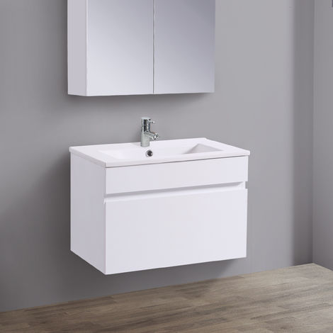 Wall Hung Vanity Sink Unit Ceramic Basin Bathroom Drawer Storage Furniture